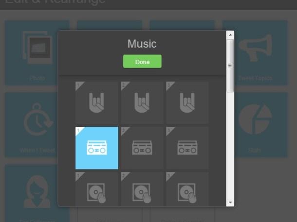 Gestione Musica Tweet Report su Vizify