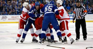 Huge brawl between the Tampa Bay Lightning vs Detroit Red Wings