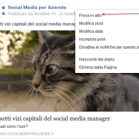 Come fissare in alto un post di Facebook