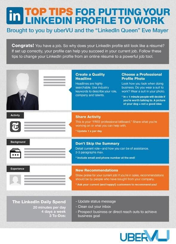 Top Tips for Putting Your LinkedIn Profile to Work (Infographic) - work tips