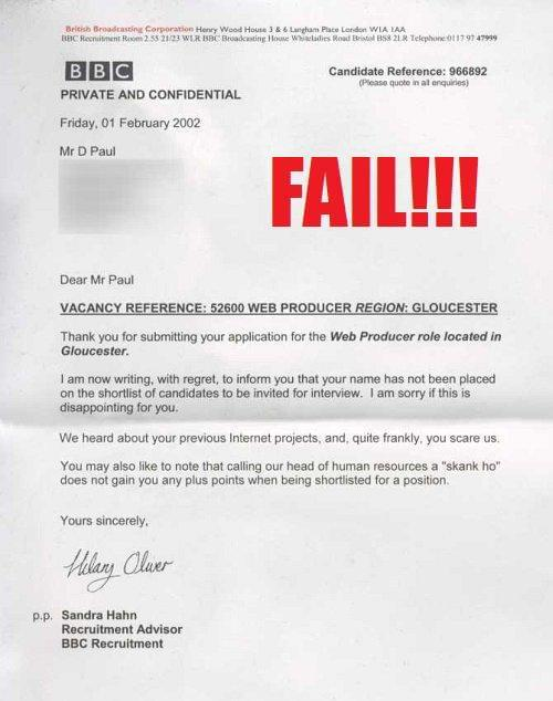 Greatest Employment Rejection Letters EVER! SocialTalent