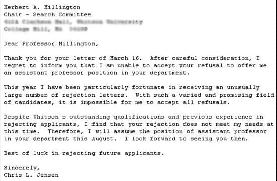 Greatest Employment Rejection Letters EVER! SocialTalent