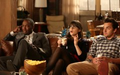 "NEW GIRL:  L-R: Winston (Lamorne Morris), Jess (Zooey Deschanel) and Nick (Jake Johnson) listen as Schmidt tells them of his plans for their big party celebrating Nick and Schmidt's tenth anniversary of living together in the ""TinFinity"" episode of NEW GIRL airing Tuesday, Feb. 26 (9:00-9:30 PM ET/PT) on FOX. ©2013 Fox Broadcasting Co.  Cr: Patrick McElhenney/FOX"