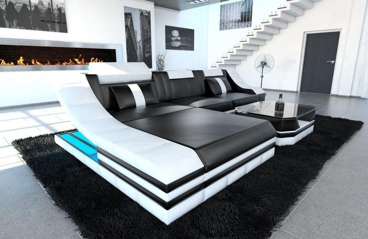 Wohnzimmer Couch Leder  Couch Turino L Form Mit Echtleder Und Kunstleder In