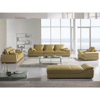 Designer Jasmine Light Yellow Leather Sofa Suite