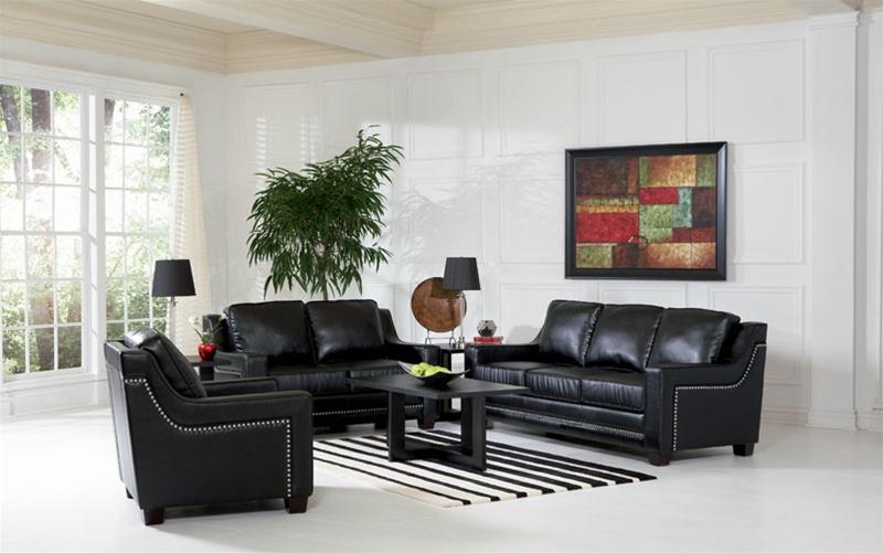 Finely Leather Living Room Set in Black Sofas - black living room sets