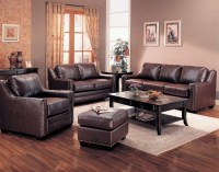 Gibson Leather Living Room Set in Brown | Sofas