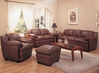 Alondra Leather Living Room Set in Brown | Sofas