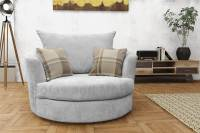 Large Swivel Round Cuddle Chair Fabric Grey Cream Brown ...