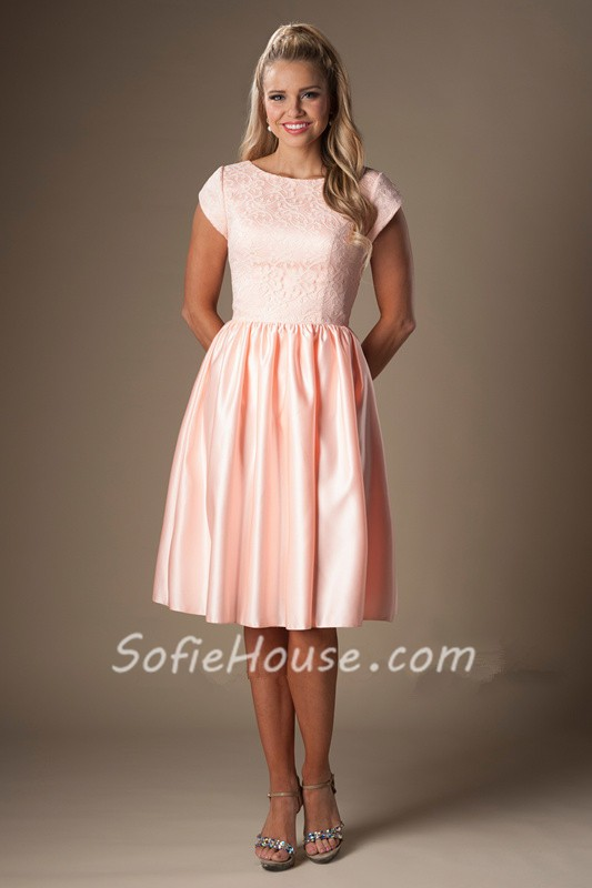 A Line Bateau Neck Cap Sleeves Pearl Pink Satin Lace Short