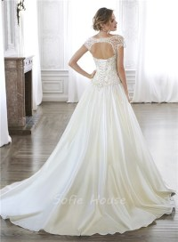 A Line Dropped Waist Taffeta Beaded Corset Wedding Dress ...