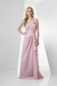 A Line Strapless Long Pearl Pink Satin Draped Bridesmaid ...