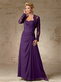 A line long purple chiffon mother of the bride dress with