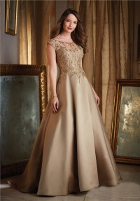 Ball Gown Boat Neck Cap Sleeve Gold Satin Lace Beaded ...