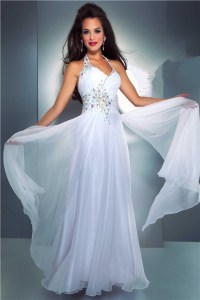 Elegant Sheath Halter Long White Chiffon Beaded Evening ...