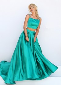 Fantastic A Line Two Piece Green Silk Satin Prom Dress ...
