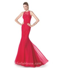 Fit And Flare Mermaid Scoop Neck Red Tulle Lace Long