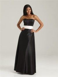 Formal sweetheart floor length long black silk bridesmaid ...