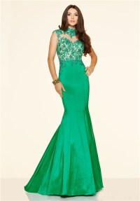 Mermaid High Neck Backless Green Taffeta Lace Prom Dress ...