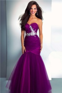 Mermaid Sweetheart Long Dark Purple Tulle Prom Dress With ...