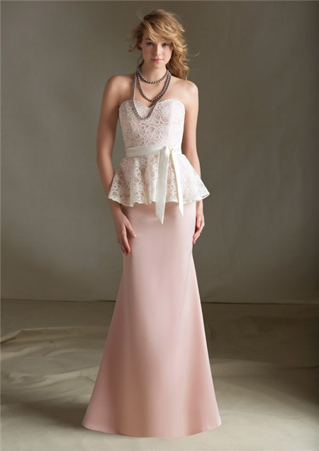 Mermaid Sweetheart Long Light Pink Satin Lace Peplum