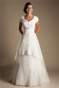 Modest A Line Cap Sleeve Tulle Lace Corset Wedding Dress