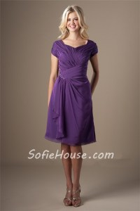 Modest Sweetheart Short Sleeves Purple Chiffon Ruched ...