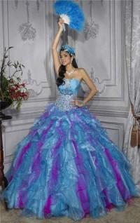 Pretty Ball Gown Purple Blue Organza Quinceanera Dress ...