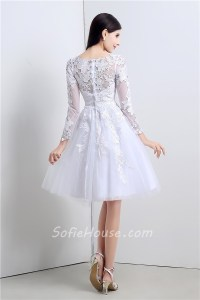 Princess Ball Gown Short White Tulle Lace Sleeve Prom ...