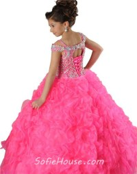 Puffy Ball Gown Hot Pink Organza Beaded Little Girls Party ...