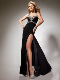 Sexy Sheath Long Black Chiffon Prom Dress With Open Back ...