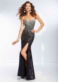 Sexy Sheath Sweetheart Long Black Silk Tulle Beaded Prom ...