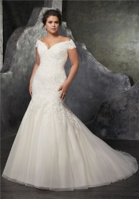 Sexy Trumpet Off The Shoulder Tulle Lace Beaded Plus Size ...
