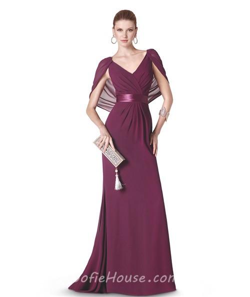 Sheath V Neck Long Burgundy Chiffon Evening Dress With