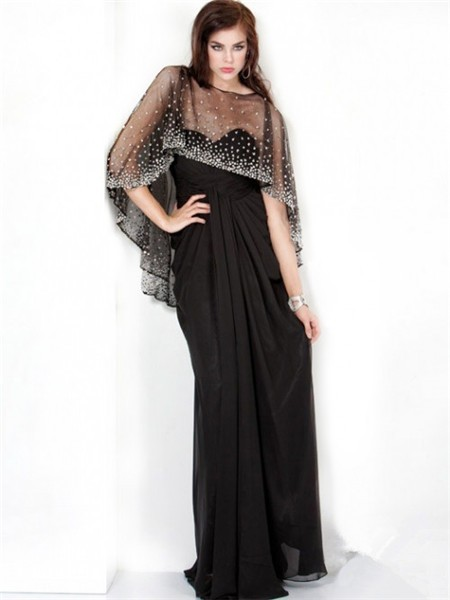 Sparkle Sheath Long Black Chiffon Evening Prom Dress With
