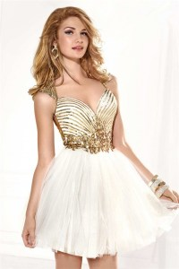 Sweetheart Open Back Short White Tulle Gold Sequined ...