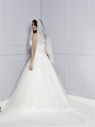 Classic A Line Princess Strapless Sweetheart Tulle Lace ...