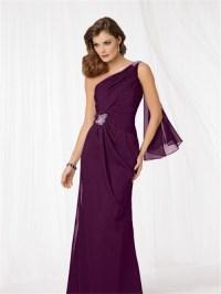 Elegant one shoulder floor length purple chiffon mother of ...