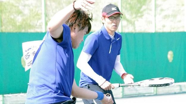 男子ダブルス優勝のイサンクォン・パクサンミン。写真は4月に同会場で開催された韓国国家代表戦で撮影、同大会で2位になりはじめてナショナルチームに。10月の東アジア競技大会に出場する。