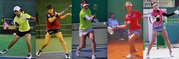 左から鄭竹玲(台湾)台湾国体優勝等シングルス強者でもある。小林奈央(日本)昨年の全日本シングルス優勝。キムボミ(韓国)コリアカップ国際大会シングルス優勝、イソイ(韓国)韓国代表選抜シングルス一位。