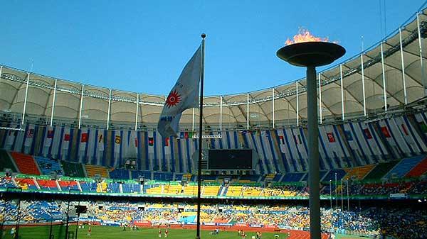 2002年大会(釜山)のメイン会場。ソフトテニス会場はそのすぐ側だった(テニスは遥か郊外)。競技以外のイベントも多数でたいへんな賑わいだった。
