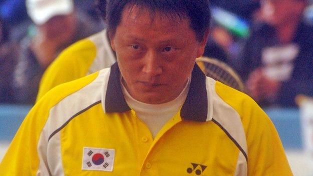 2011世界選手権団体決勝 篠原・小林戦でのチョソンジェ。彼のテニス人生での頂点といえる見事なプレーだった。集中しきった表情だ。
