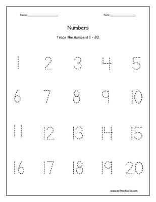 Trace the numbers 1 \u2013 20 Worksheet
