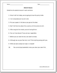 Adverb Clauses Worksheet - Kidz Activities