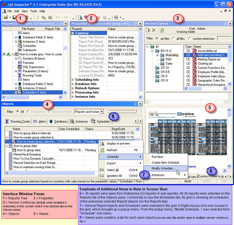 rpt Inspector Professional Suite for Crystal Reports Software Forces