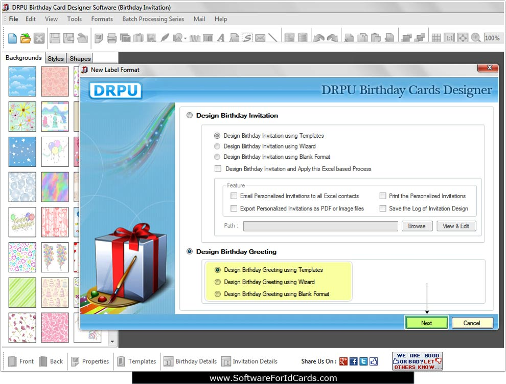 Screenshots of Birthday Cards Designing Software to learn to make - birthday invitation software
