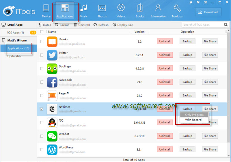 Backup and Restore any specific iOS Apps without iTunes