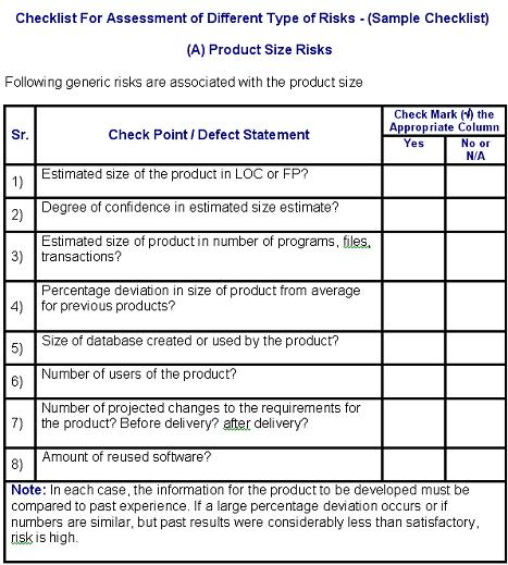 Risk Assessment and Analysis Checklist - product risk assessment