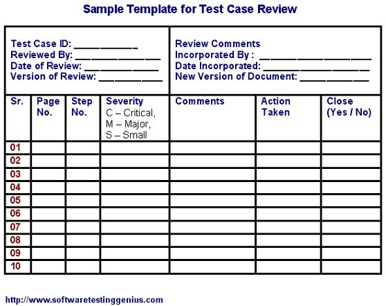Test Case and Its Sample Template - test case template