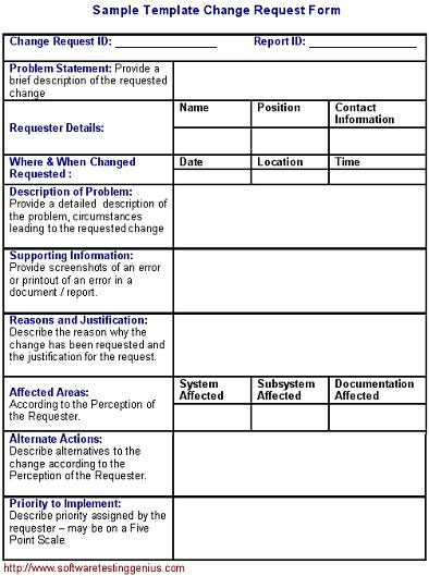 Software Change Request Form and Its Sample Template - Software